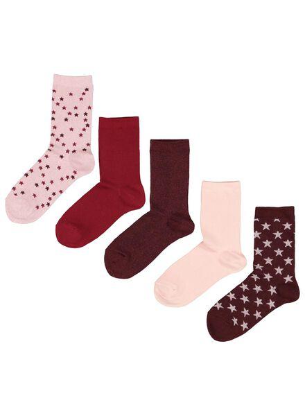 5-pack women's socks burgundy red burgundy red - 1000017315 - hema