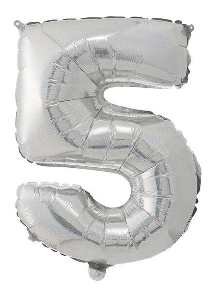foil balloon XL 5 5 silver - 60800651 - hema