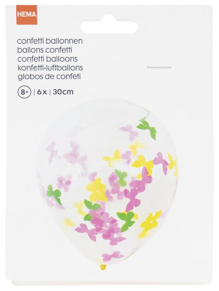 6 confetti balloons 30 cm butterfly - 14200417 - hema