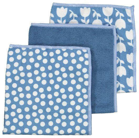 3er-Pack Mikrofasertücher, 36 x 36 cm, blau - 5410084 - HEMA