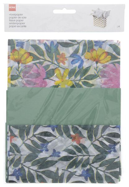3 feuilles papier de soie 70x50 fleurs - 14700465 - HEMA