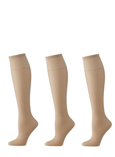 3-pack shiny nylon knee-socks 20 denier natural one size - 4022541 - hema