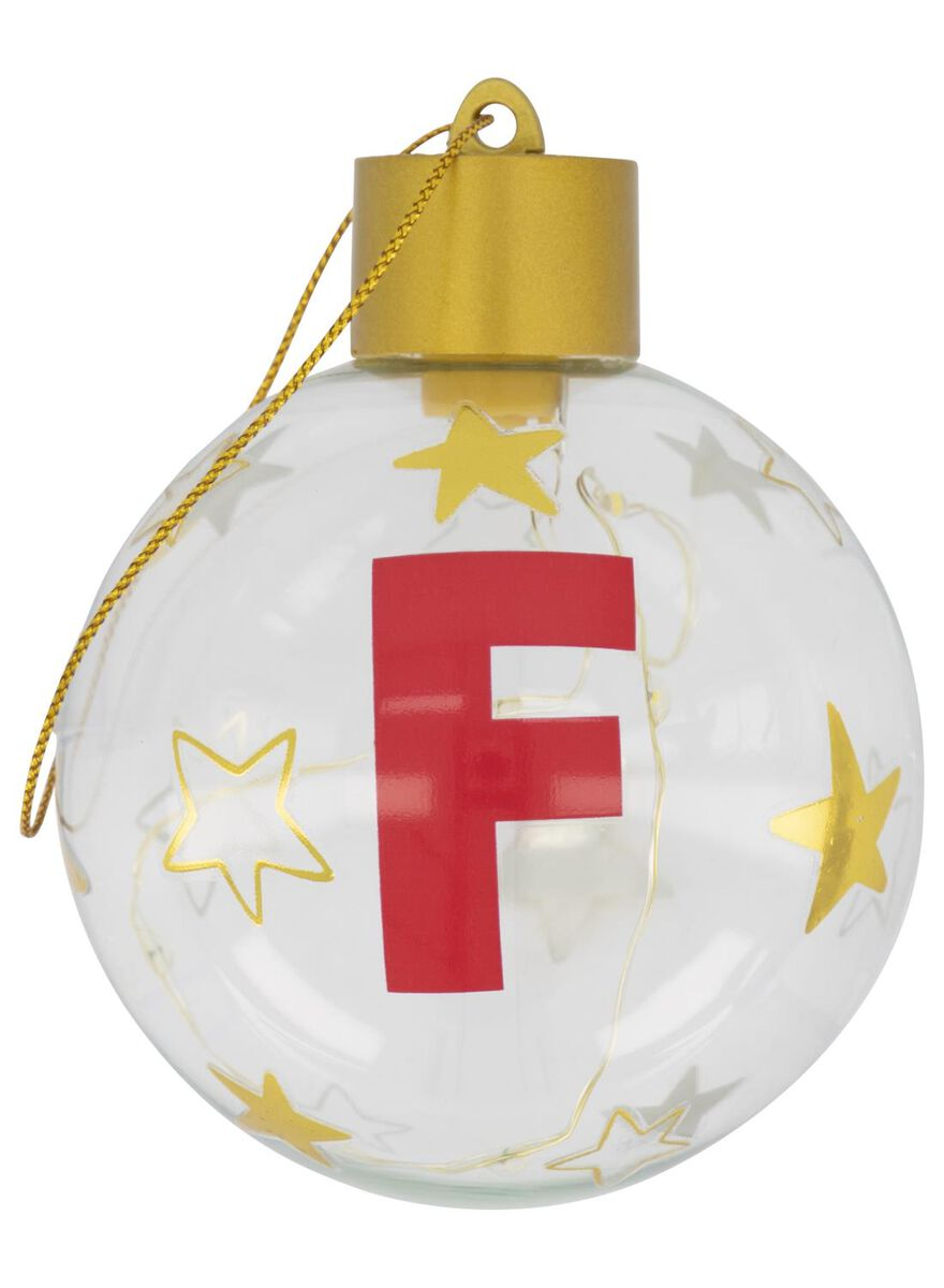 boule de Noël LED en verre Ø 8 cm lettre F - 25500045 - HEMA