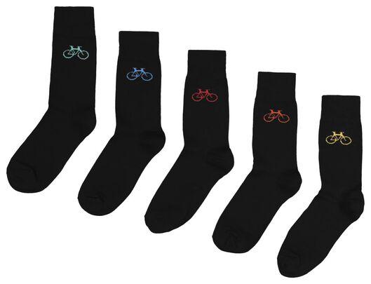 5-pack men's socks black black - 1000018843 - hema