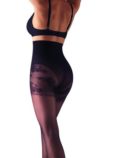 slightly body-shaping 20 denier shiny tights with lace bottoms black black - 1000017521 - hema