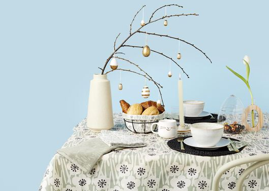 toile cirée 140x240 polyester fleur gris/noir - 5300116 - HEMA