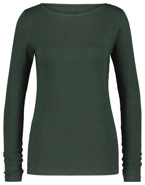 Damen-Shirt, U-Boot-Ausschnitt dunkelgrün XL - 36359856 - HEMA
