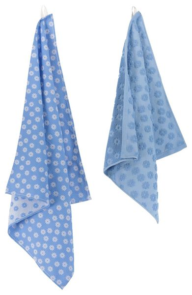 tea- and kitchen towel flowers - cotton - blue - 5490025 - hema