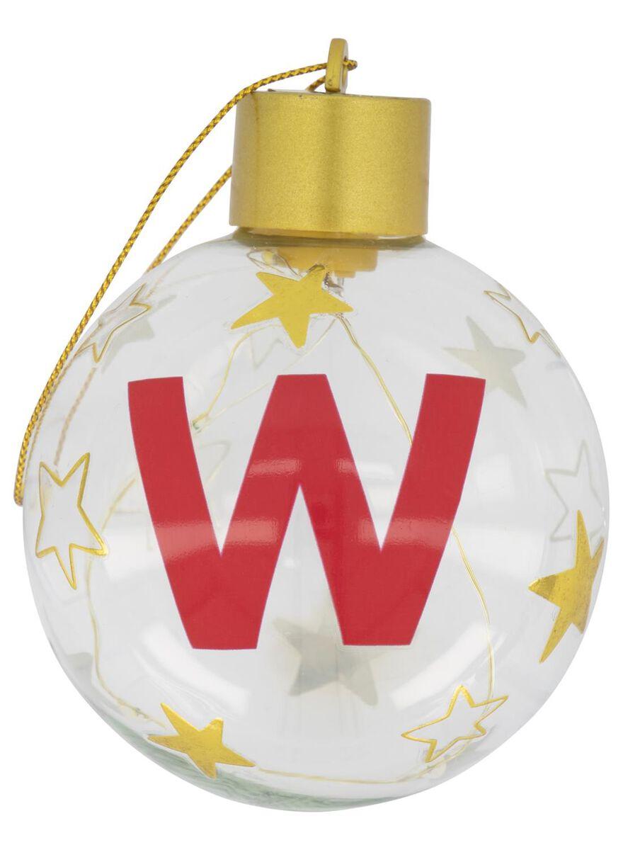boule de Noël LED en verre Ø 8 cm lettre W - 25500062 - HEMA