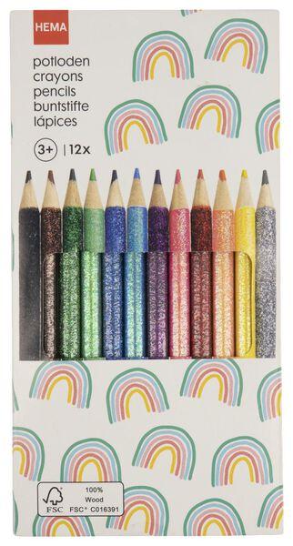 12crayons de couleur paillettes - 15990189 - HEMA