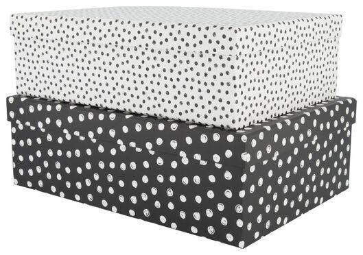 2 storage boxes cardboard dots black/white - 39821123 - hema