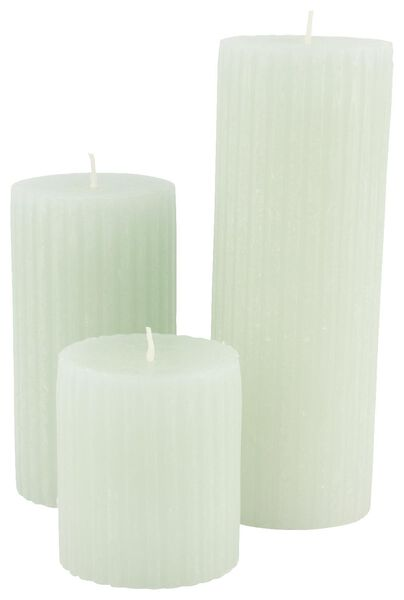 rustic candle with relief - 7x13 - light green - 13502606 - hema