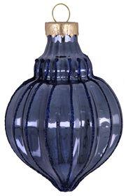 boule de noël verre 9 cm bleu nervures - 25103810 - HEMA