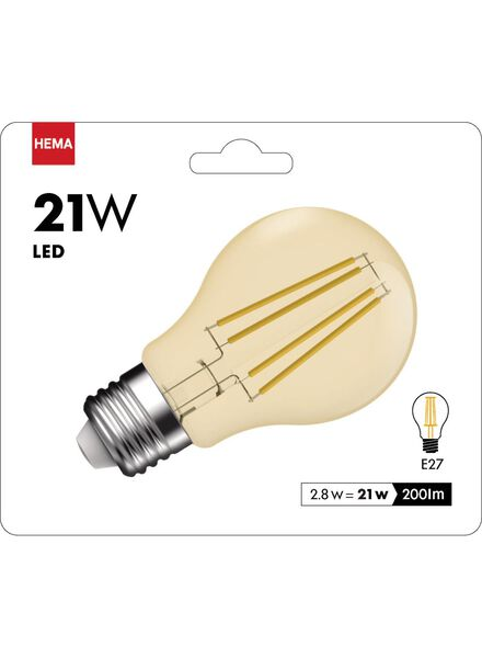 ampoule LED dorée transparente 2,8 watts - gros culot - 200 lumens - 20090064 - HEMA