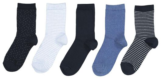5-pack women's socks blue 35/38 - 4220401 - hema