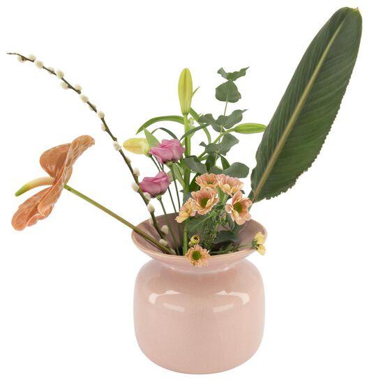 vase 19 cm - reactive glaze - pink - 13392041 - hema