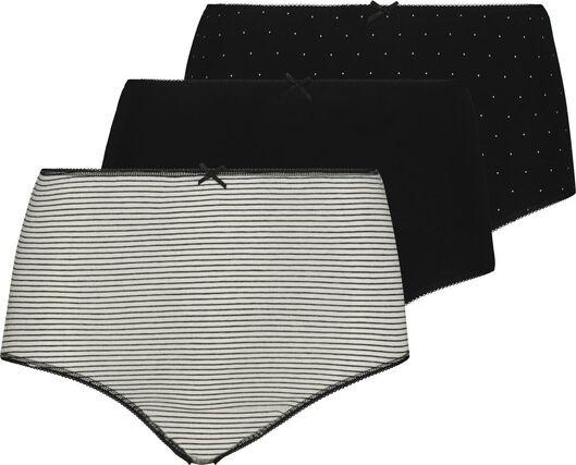 3-pack high waist women's briefs black/white black/white - 1000019037 - hema