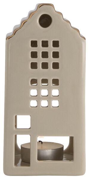 theelichthouder aardewerk huisje grijs 15x7x6.5 - 25103052 - HEMA