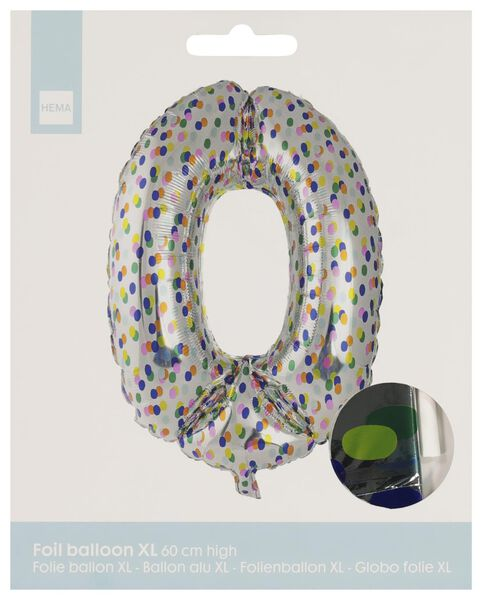 foil balloon XL number 0 - confetti silver 0 - 14230270 - hema