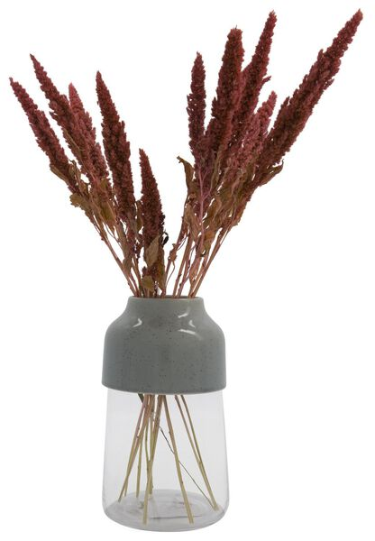 Vase, Ø 14 x 17.1 cm, Glas/Keramik, grau - 13311064 - HEMA