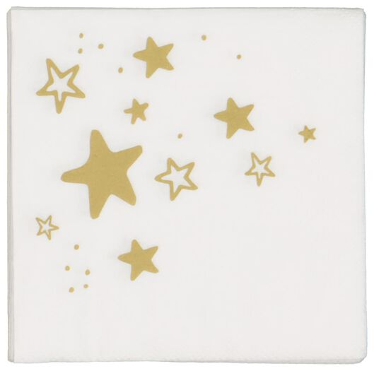 20 serviettes 24x24 paper - gold stars - 25600155 - hema