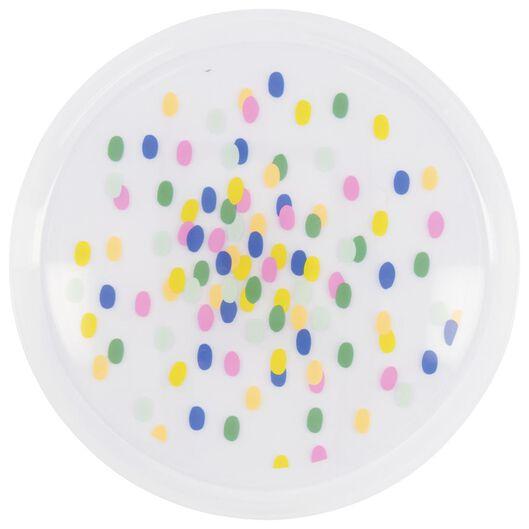 4 reusable plastic plates - Ø22.5 cm - confetti - 14200496 - hema