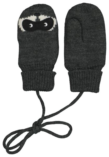 children's mittens raccoon dark grey dark grey - 1000020790 - hema