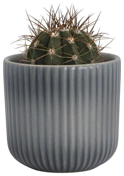 Blumentopf, Ø 7 x 5.5 cm, Keramik, Rippen, blau - 13311030 - HEMA