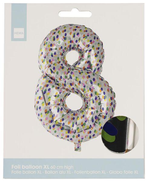 foil balloon XL number 8 - confetti silver 8 - 14230278 - hema
