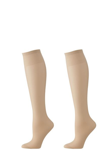 2-pack knee-socks mat 15 denier powder one size - 4022591 - hema