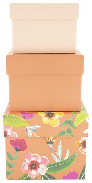 3 boîtes de rangement - carton - fleur - 39890052 - HEMA