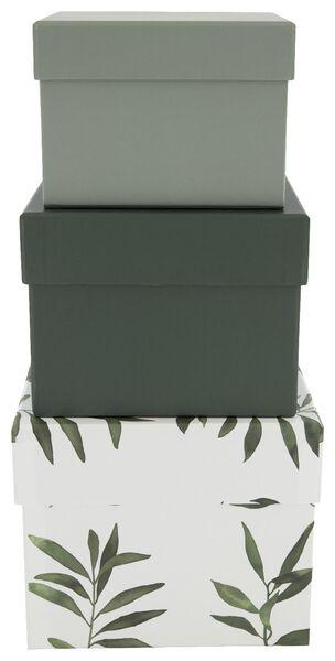 3 boîtes de rangement en carton feuilles d'olivier vertes - 39822221 - HEMA