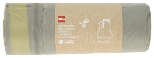 Image of HEMA 25 Household Waste Bags With A Pull Fastening 30L - Recycled Plastic