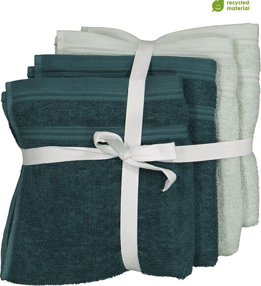 Image of HEMA 4 Towels - 50 X 100 Cm - Cotton With RPET - Green (green)