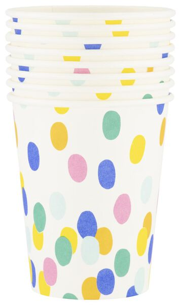 8 gobelets en papier - 250 ml - confetti - 14200284 - HEMA