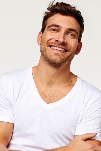t-shirt homme col en V profond - extra long - coton biologique blanc blanc - 1000016217 - HEMA