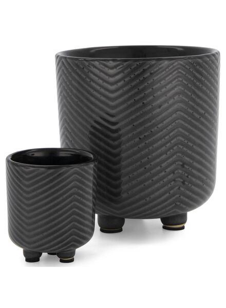 flower pot Ø 6.5 cm - ceramic - black/white - 13392065 - hema