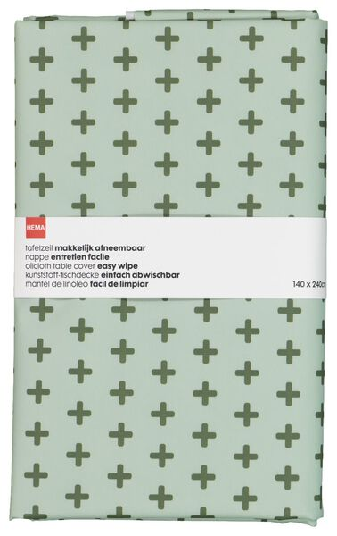 table oil-cloth - 140x240 - polyester - green pluses - 5300101 - hema