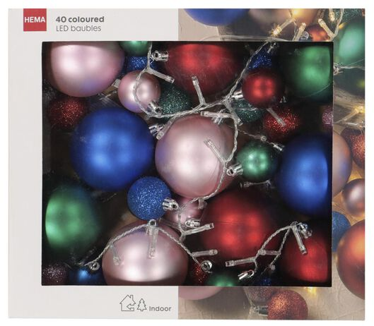 verlichtingssnoer kerstballen kleur 40 LED lampjes 3 meter - 25530322 - HEMA