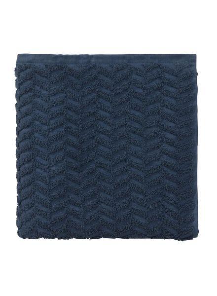 serviette de bain-50x100 cm-qualité épaisse-bleu foncé zigzag - 5240183 - HEMA