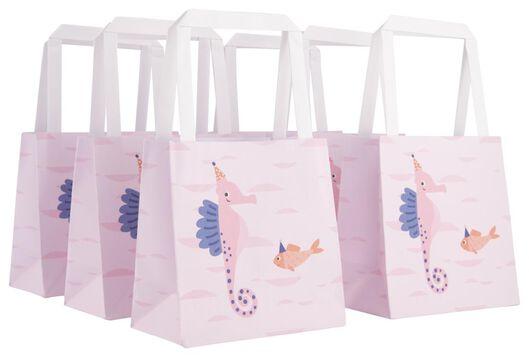 6er-Pack Geschenktaschen, 13 x 13 x 7 cm, Seepferdchen - 14700387 - HEMA