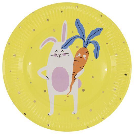 8 petites assiettes en papier 22.5 cm Pâques jaune - 25810105 - HEMA