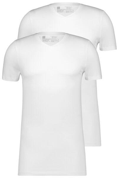 HEMA 2er-Pack Herren-T-Shirts, Regular Fit, V-Ausschnitt, Extralang Weiß