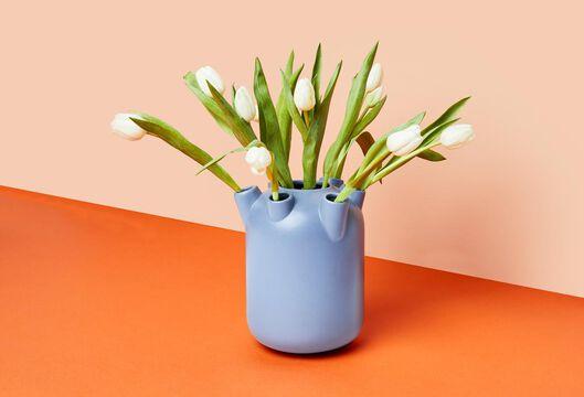 tulpenvaas 22xØ18.5 keramiek blauw - 13311066 - HEMA