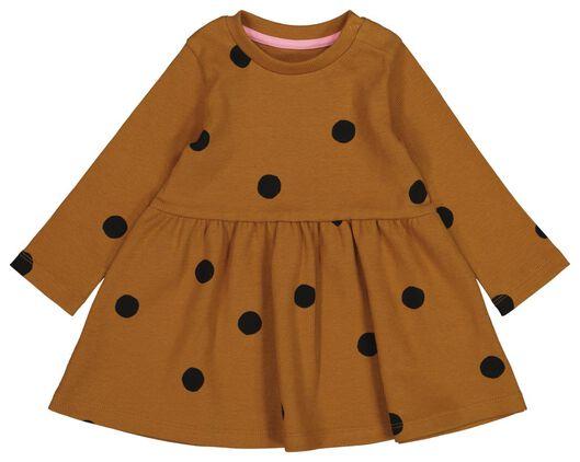 HEMA Baby-Kleid, Gerippt, Punkte Braun