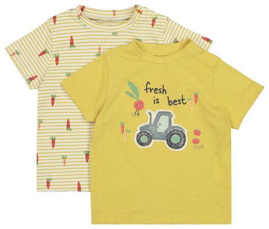 2-pack baby T-shirts yellow yellow - 1000019273 - hema