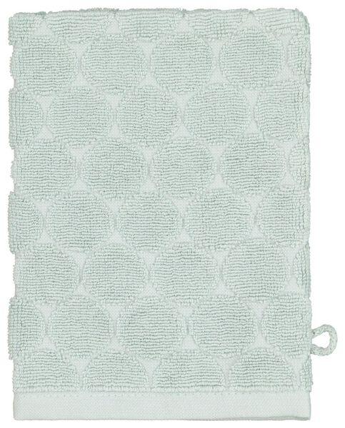 gant de toilette - qualité épaisse - vert poudré pois - 5210084 - HEMA