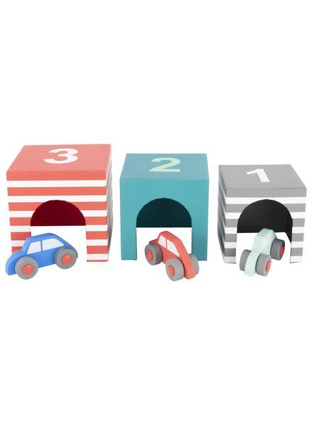 3 wooden cars with garage - 15122224 - hema
