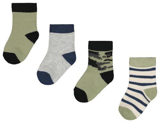 Babyaccessoires - HEMA 4er Pack Baby Socken, Tarnfleckenmuster Grün - Onlineshop HEMA