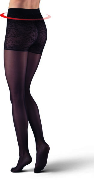 tights 20 denier with tummy control and lace bottoms black black - 1000017269 - hema